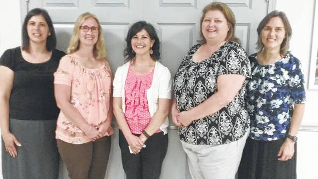 Teachers selected to receive the grants for their classrooms are, from left, Melissa Printz, Calvary Christian, Jana Core, Indian Lake, Rebekah Troyer, West Liberty-Salem, Barb Kuck, Benjamin Logan, and Donna Brunner, Bellefontaine City. Absent from the picture is Marie Baughman, Riverside.