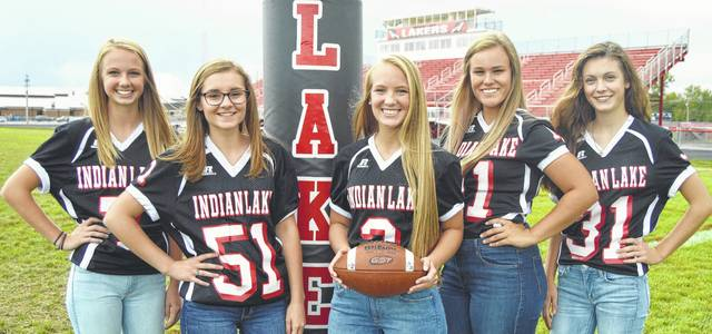 Leading this week's homecoming activities at Indian Lake High School are Queen Tatum Reprogle (center), and attendants from the left, freshman Ella Wagner, senior Kelsi Poppe, Reprogle, junior Amber Seeley and sophomore Kassidy Crockett. The Lakers take on Jonathan Alder starting at 7 p.m. on Friday, Sept. 22, at IL Stadium. The Queen and her court will be presented during pregame ceremonies beginning at 6 pm. The 9th annual Homecoming Community Parade and Pep Rally begins at Paradise Island, west of Russells Point at 6:30 p.m. on Thursday, Sept. 21. The parade travels east to the McDonald's overflow parking lot for a community pep rally. More than 40 floats are expected.
