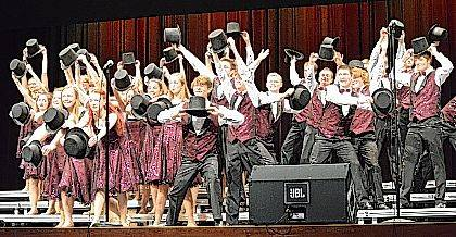 """The Indian Lake High School Meistersingers perform """"One"""" from a Chorus Line during the Indian Lake Show Choir Extravaganza on Nov. 10."""