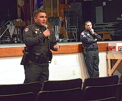 Bellefontaine Police Officer Michael Morgan speaks to students at Indian Lake High School about the upcoming Youth Police Academy.