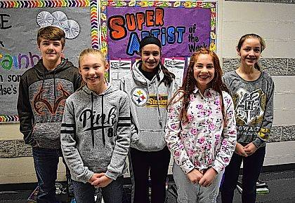 The middle school artists are, from left, Graysen Dowden, Massie Romanowski, Cheyenne Hill, Adeline Robinson and Marah Reames.
