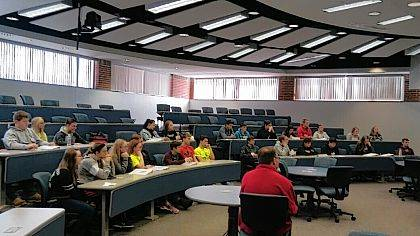 Leadership students get tips on public speaking.