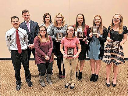 Shown are Evan Thompson, Justin Agnew (back row), Brionna Hurley, Rylee Shepherd (back row), Olyvia Sloan, Gwen Purtee, Julieann Castle, Mikayla Wolford and Brionna Anderson.