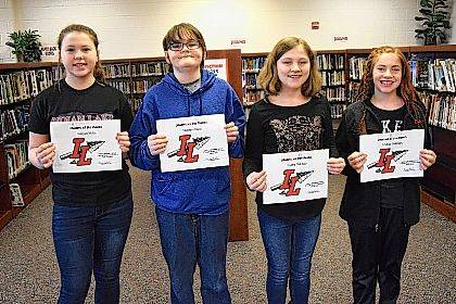 Indian Lake Middle School's March Students of the Month are, from left, 8th grader KaLynn Miller, 7th grader Matthew Hines, 6th grader Gabby McClure and 5th grader Adeline Robinson. Students are chosen by their teachers and staff for demonstrating good citizenship, earning good grades and having a positive attitude. They receive a certificate, a homework pass, a pass to the front of the lunch line for a month, a free Cassano's pizza and an ice cream treat.
