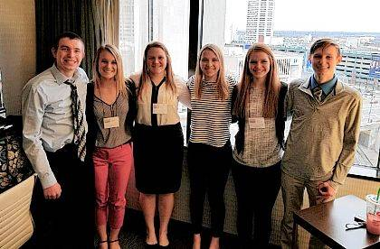 Six Indian Lake High School students competed at the state Business Professionals of America contest at the Columbus Convention Center. Senior Cameron Daniels placed second in Business Law & Ethics, earning a trip to the national BPA competition in Dallas, Texas, in May. Local contestants were, from left, Kale Shoffner, Delaney Woods, Jennifer Kaffenbarger, Lindsay Berg, Aubrey Grider and Daniels. The group is part of the Indian Lake High School Ohio Hi Point Business Satellite advised by business educator Lisa Coburn.