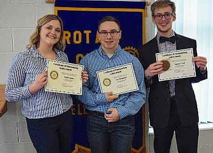 Two local orators will move to district competition after the annual Bellefontaine Rotary Club 4-Way Test Speech Contest. Indian Lake High School senior Spencer Wolf, right, took first place, while Bellefontaine High School's Trey Henderson, center, came in a close second and Ben Logan's Taylor Keene, left, scored third. Students are asked to present a 4-6 minute memorized speech on a topic of their choice. They also must answer these questions: Is is true? Is it fair? Will it build goodwill and friendships? Is it beneficial to all? Wolf's examination of fundraising candy bar sales was funny and factual. He and Henderson will represent the Bellefontaine Rotary Club at the district level contest at Wright State University in April.