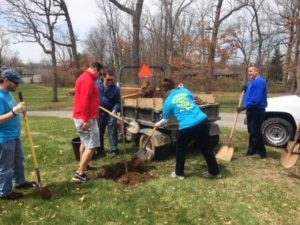 Rotarians plant trees at Rutan Park