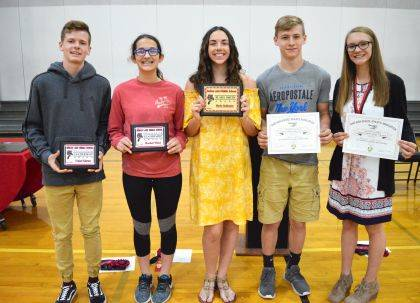 Special Award winners are, from left, Trenton Fulkerson, Rachel Wahl, Macie Robinson, Kaleb Hurly and Kandall Cotterman.