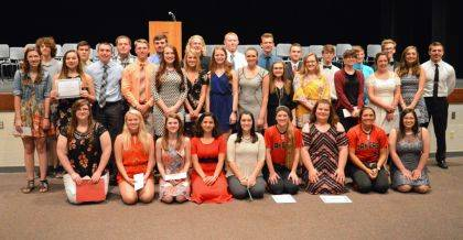Indian Lake scholarship recipients are, front row left to right, Alexa King, Gianna Hagedorn, Darrian Dorsey, MaryAnn Wahl, Terrin Bok, Tatum Reprogle, Christina Bowen, Libby Cotterman, Samara Jakeway, second row, Mollie Swygart, Emily Stover, Kale Shoffner, George Lones, Jade Lynn Lewis, Delaney Woods, Aubrey Grider, Hanna Hogue, Kelsi Poppe, Sierra Lensman, Morgan Coppel, Drew Kreiss, Gabrielle Taylor, back row, Logan Ingle, Connor Dixon, Kevin McLane, Spencer Klauer, Xancer Vance, Collin Coburn, Nikolas Vance, Gage Dempster, James Toda, Tommy Meek, Spencer Wolf and Cole Mefford.