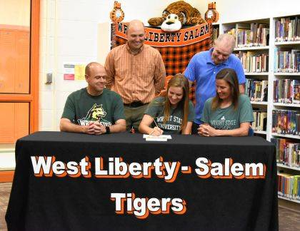 West Liberty-Salem's Taylor Lauck signs her letter of intent to play soccer at Wright State University in the fall.