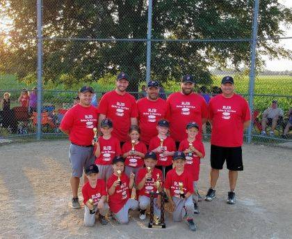 Huntsville #1 RJB Sales & Service won the Logan County T-ball tournament June 18. The championship game was a close one against West Liberty #2, with a final of 19-17. Huntsville finished the season with a perfect 12-0 record including the tournament games. Members of the team include, first row from left, Hudson Titus, Ty Blackburn, Ross Tidwell, Miller Hall, second row, Bennett Shaner, Reese Imm, Hailee Shoenberger, Brody Schroeder, third row, Tyler Blackburn, Curt Schroeder, John Shaner, Nate Titus, Brian Tidwell.