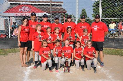Huntsville #1, Indian Meadows Chiropractic Center, won the Logan County 8U Softball Tournament. Huntsville went 5-0 in the tournament, defeating West Liberty, DeGraff, Quincy, Ridgemont, then upended Ridgemont by one run, 18-17, in the championship game. The team completed the season with a 13-1 record. Members of the team include, first row from left, Rylie Souder, Rya Pequignot, Makayle Clary, Lily Michael, Audree Titus, second row from left, Chloe Borgerding, Mya Schroeder, Claire Tidwell, Mackenzie Miller, Quinn Imm, third row from left, Coaches Ashley Pequignot, Mike Pequignot, Dallas Clary, Brad Souder, Curt Schroeder, Brian Tidwell and Nate Titus.