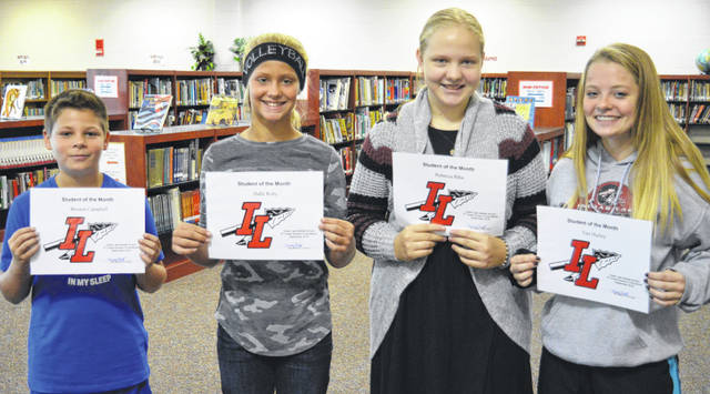 Indian Lake Middle School continues its tradition of recognizing positive student attitude and achievement by selecting Students of the Month. Congratulations to September's picks, from left, 5th grader Weston Campbell, 6th grader Halle Roby, 7th grader Rebecca Bihn and 8th grader Tori Hurley. These students are chosen by their teachers and staff for demonstrating good citizenship, earning good grades and being positive with peers. They receive a certificate, a homework pass, a pass to the front of the lunch line for a month, a free Cassano's pizza and an ice cream treat.